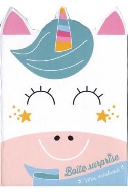 Ma boîte surprise licorne - Avec 2 cartes à gratter en forme de licorne, 2 cartes à compléter avec des strass..